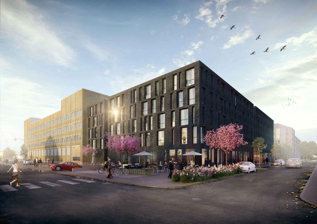 Visualiseringsbild på byggnaden vy från Slottsgatan