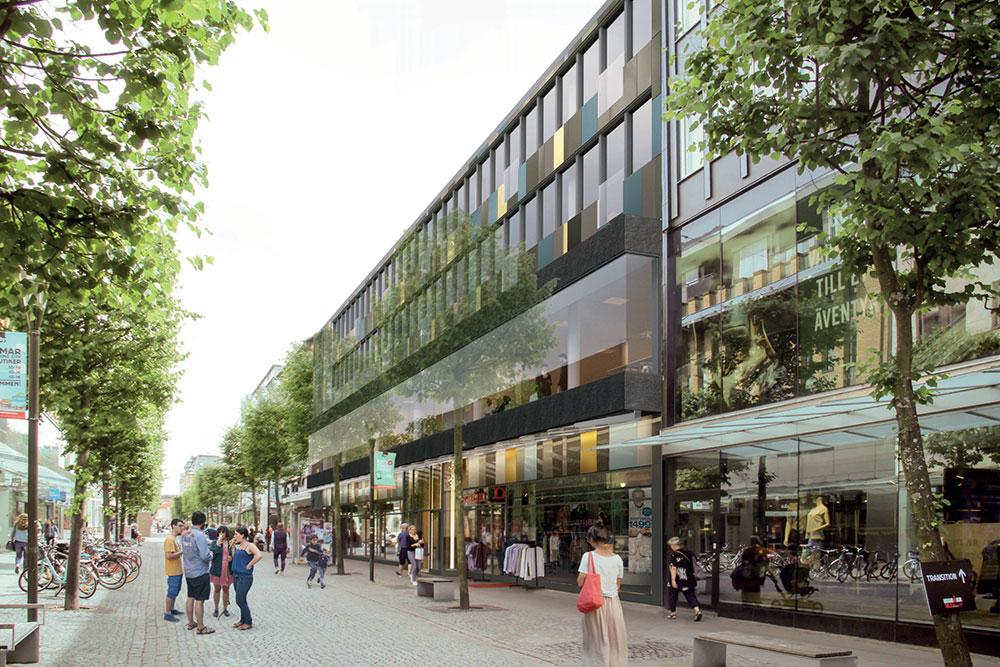 Visualiseringsbild fasad mot Östra Storgatan