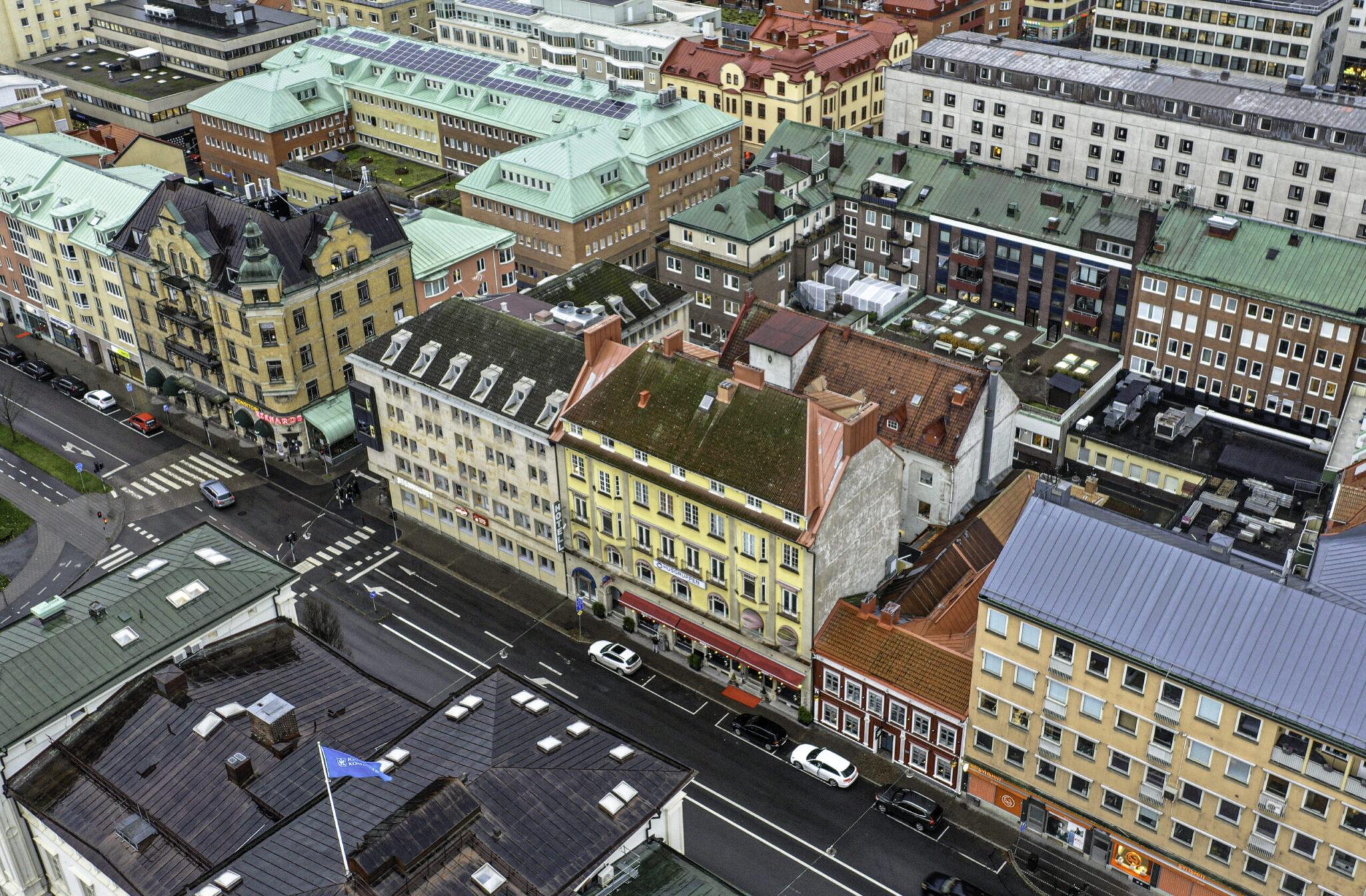 Drönarbild på Kyrkogatan